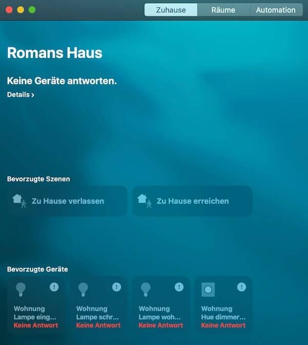 piattaforma homekit (applicazione MacOS)